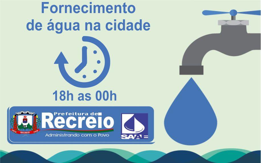 Fornecimento de água: 18h as 00h