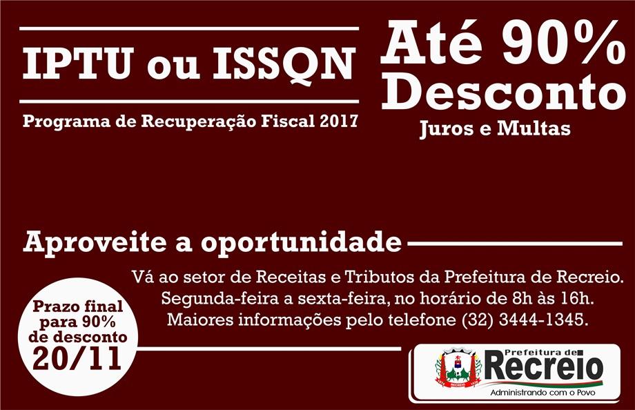 Regularize IPTU ou ISSQN - 90% desconto - 20/11